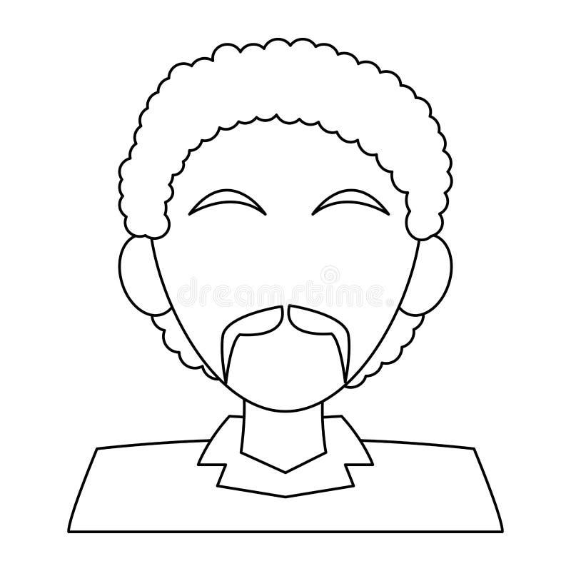 Fumetto anonimo di profilo dell'uomo in bianco e nero royalty illustrazione gratis