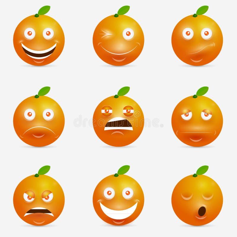 Fumetto arancio con molte espressioni illustrazione vettoriale