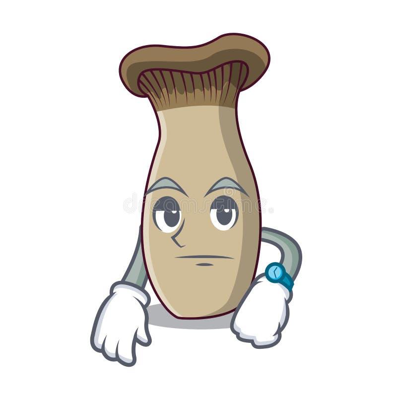 Fumetto aspettante della mascotte del fungo della tromba di re illustrazione vettoriale