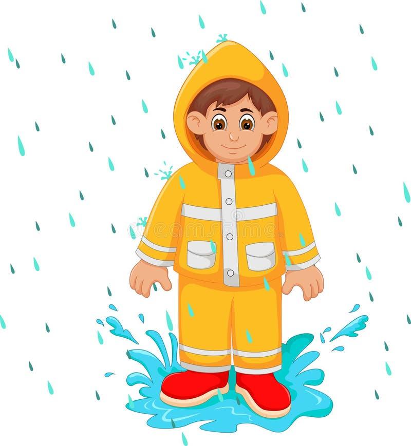 Fumetto bello dell'uomo sotto l'impermeabile di giallo di uso della pioggia