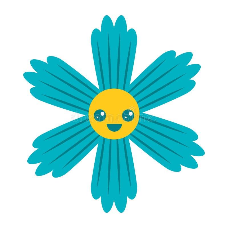 Fumetto blu sveglio di kawaii del fiore illustrazione vettoriale