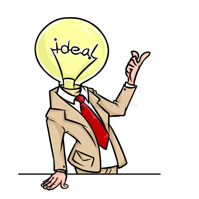 Fumetto brillante eccellente del carattere della lampada dell'uomo d'affari di idea illustrazione di stock
