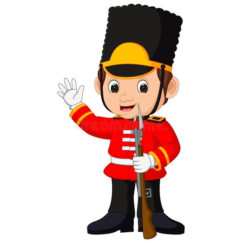 Fumetto britannico del membro della guardia illustrazione di stock