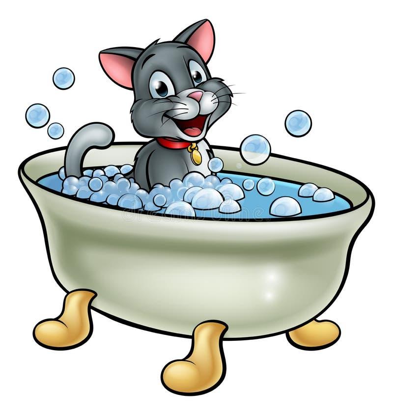 Fumetto Cat Washing nel bagno illustrazione vettoriale