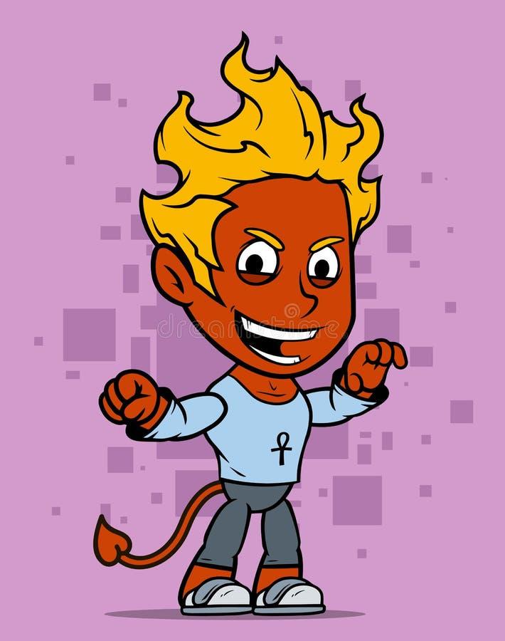 Fumetto che cammina poco carattere del ragazzo del diavolo rosso illustrazione vettoriale