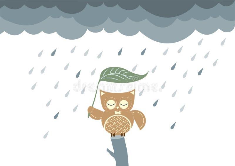Fumetto che si siede su un ramo nella pioggia, illustrazioni dei gufi di vettore royalty illustrazione gratis