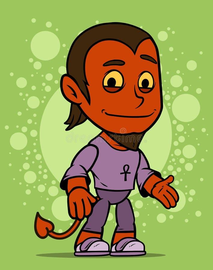 Fumetto che sta il piccolo carattere del ragazzo del diavolo rosso royalty illustrazione gratis