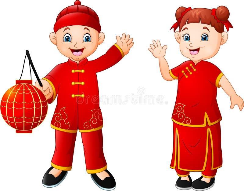 Fumetto cinese sveglio dei bambini illustrazione vettoriale