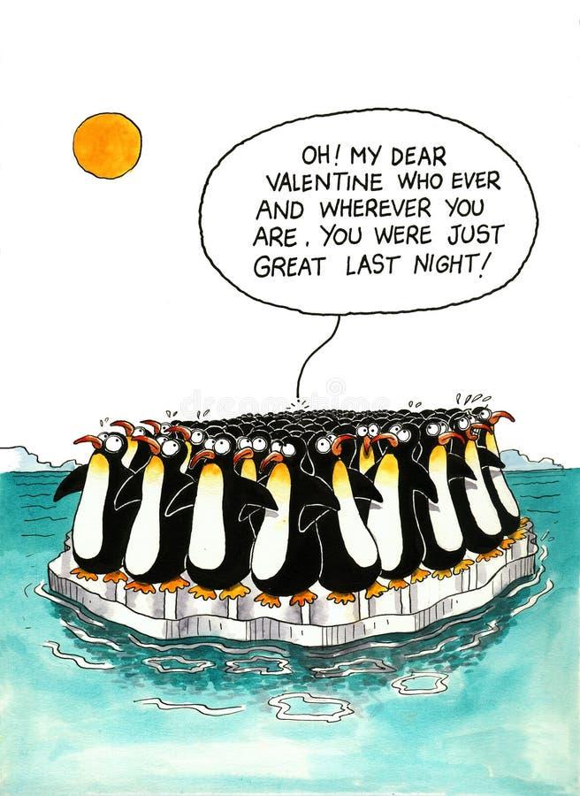Fumetto circa rassomiglianza dei pinguini illustrazione vettoriale