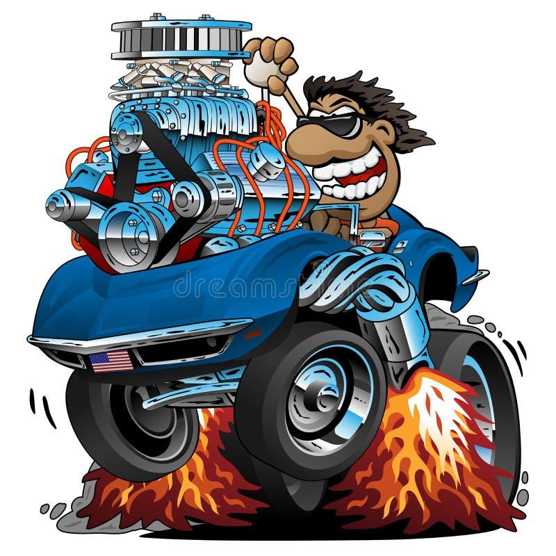 Fumetto classico dell'automobile sportiva, autista divertente, illustrazione isolata di vettore illustrazione vettoriale