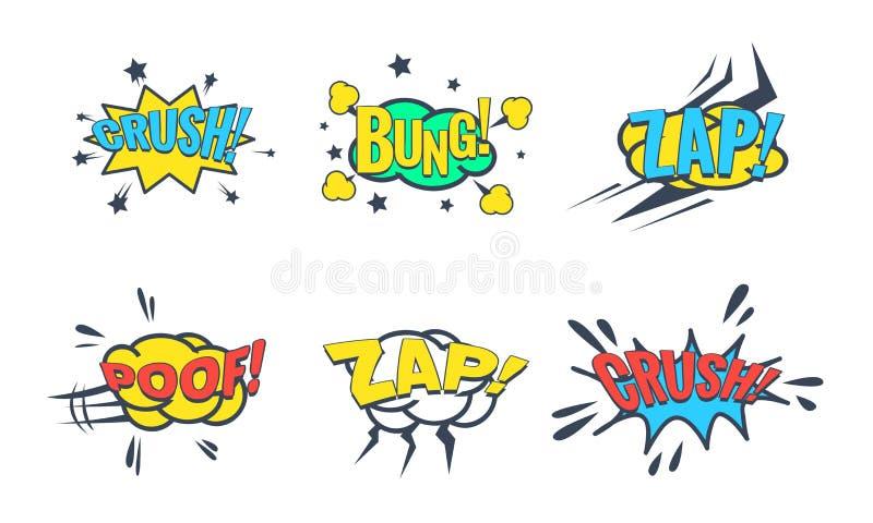 Fumetto comico con l'insieme del testo, effetti sonori comici, tappo, schiacciamento, zap, illustrazione di vettore del finocchio illustrazione di stock