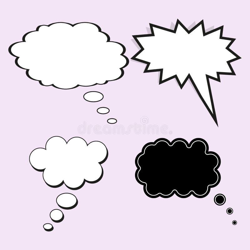Fumetto comico Il concetto di pensiero o del sogno Insieme di vettore degli elementi del modello per progettazione, su fondo legg royalty illustrazione gratis