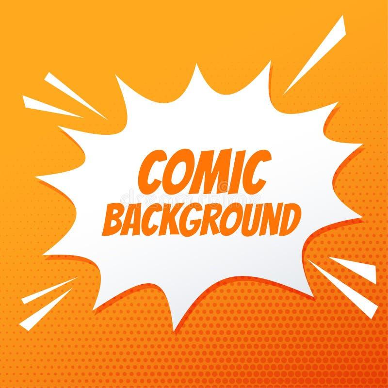 Fumetto comico scoppiato su fondo arancio illustrazione vettoriale