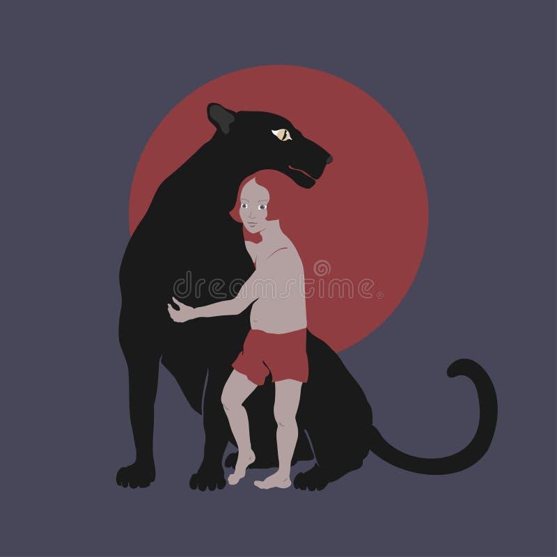Fumetto con il ragazzino ed il leopardo nero illustrazione di stock