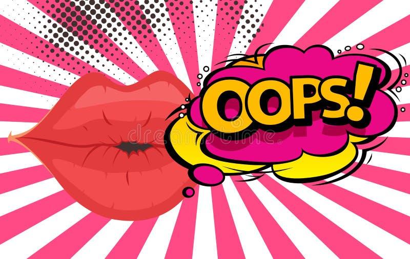 Fumetto con le labbra della donna nello stile di Pop art Testo oops sano illustrazione di stock