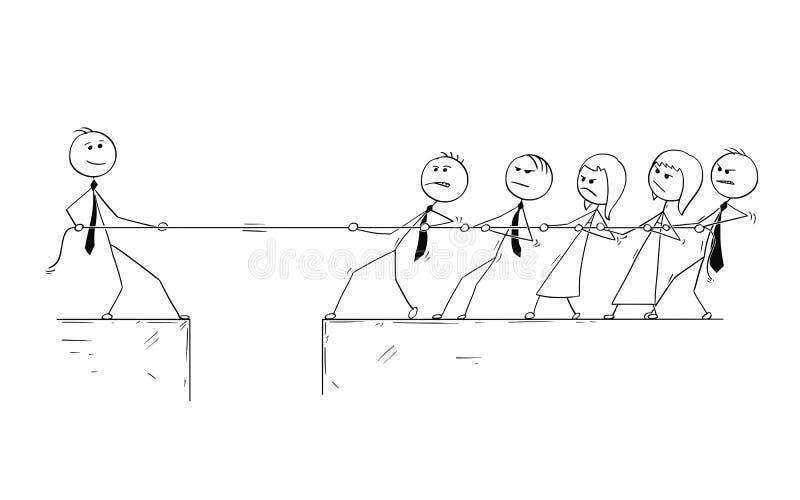 Fumetto concettuale del contributo di individualità dell'uomo di affari illustrazione vettoriale
