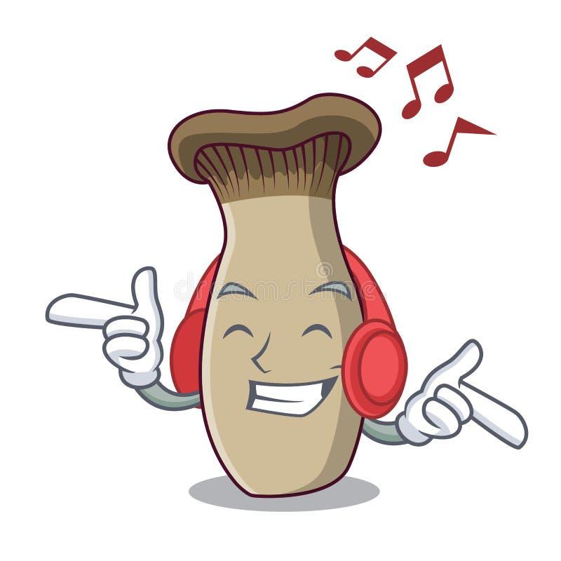 Fumetto d'ascolto della mascotte del fungo della tromba di re di musica royalty illustrazione gratis