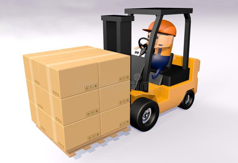 fumetto 3D che guida carrello elevatore per portare la pila marrone della scatola di carta di carta sul pallet di legno contro fo illustrazione di stock