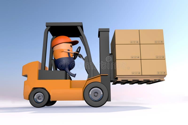 fumetto 3D che guida carrello elevatore per portare la pila marrone della scatola di carta di carta sul pallet di legno contro fo illustrazione vettoriale