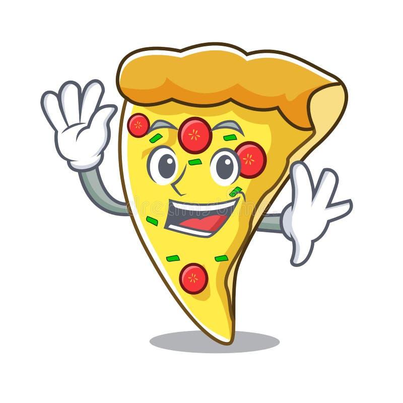 Fumetto d'ondeggiamento del carattere della fetta della pizza royalty illustrazione gratis
