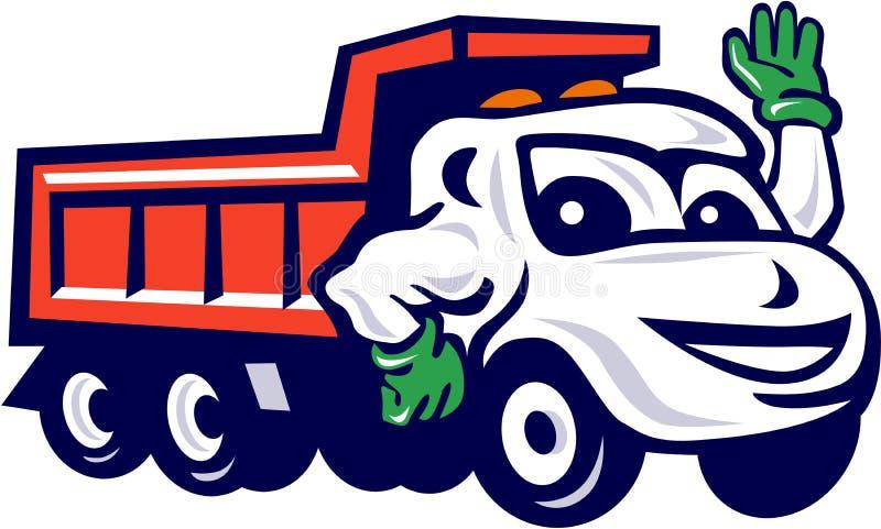 Fumetto d'ondeggiamento dell'autocarro con cassone ribaltabile illustrazione vettoriale