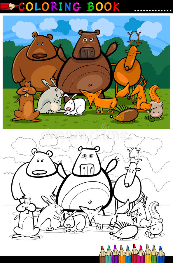 Fumetto degli animali selvatici della foresta per il libro da colorare illustrazione vettoriale