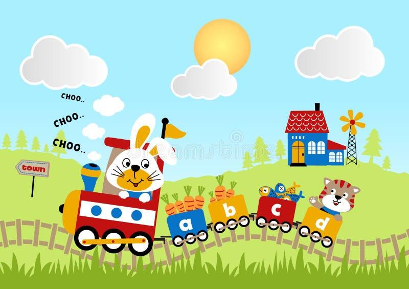 Fumetto degli animali sul treno illustrazione di stock