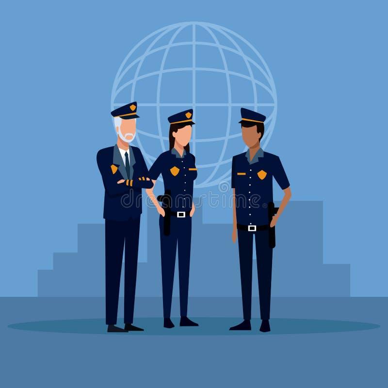 Fumetto degli ufficiali di polizia illustrazione vettoriale
