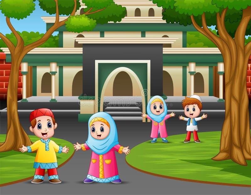 Fumetto dei bambini musulmani nella parte anteriore la moschea illustrazione di stock