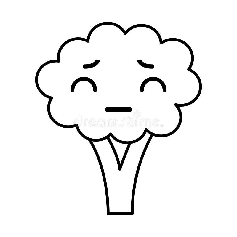 Fumetto dei broccoli di Kawaii royalty illustrazione gratis