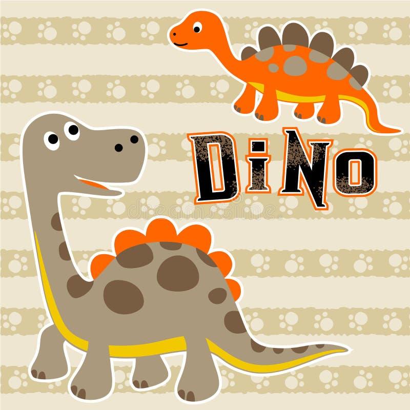Fumetto dei dinosauri su fondo a strisce illustrazione di stock