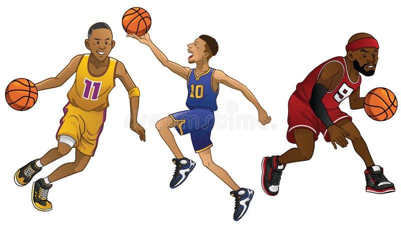 Fumetto dei giocatori di pallacanestro nell'insieme illustrazione vettoriale