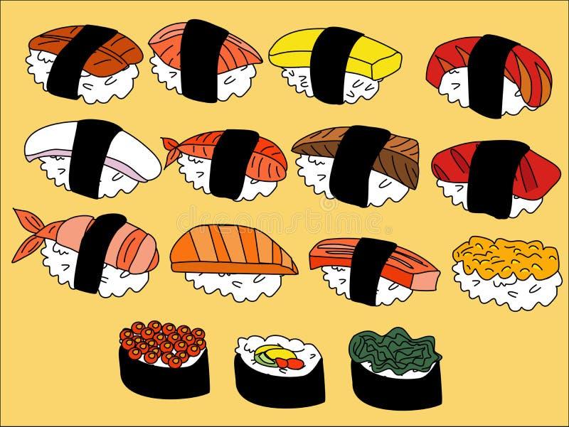 Fumetto dei sushi illustrazione di stock