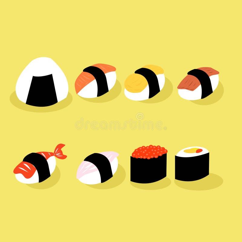 Fumetto dei sushi dell'alimento del Giappone illustrazione di stock