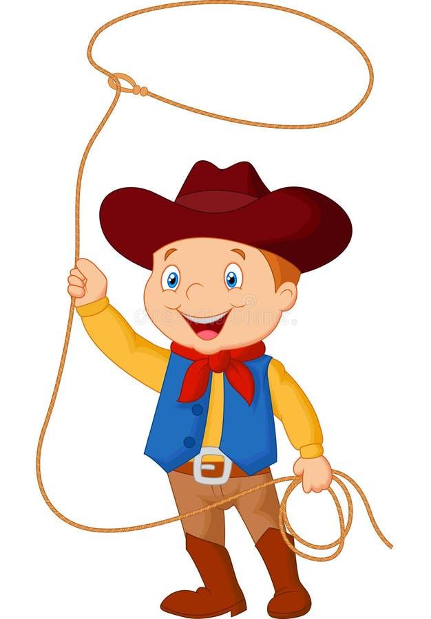 Fumetto del bambino del cowboy che volteggia un lazo illustrazione vettoriale