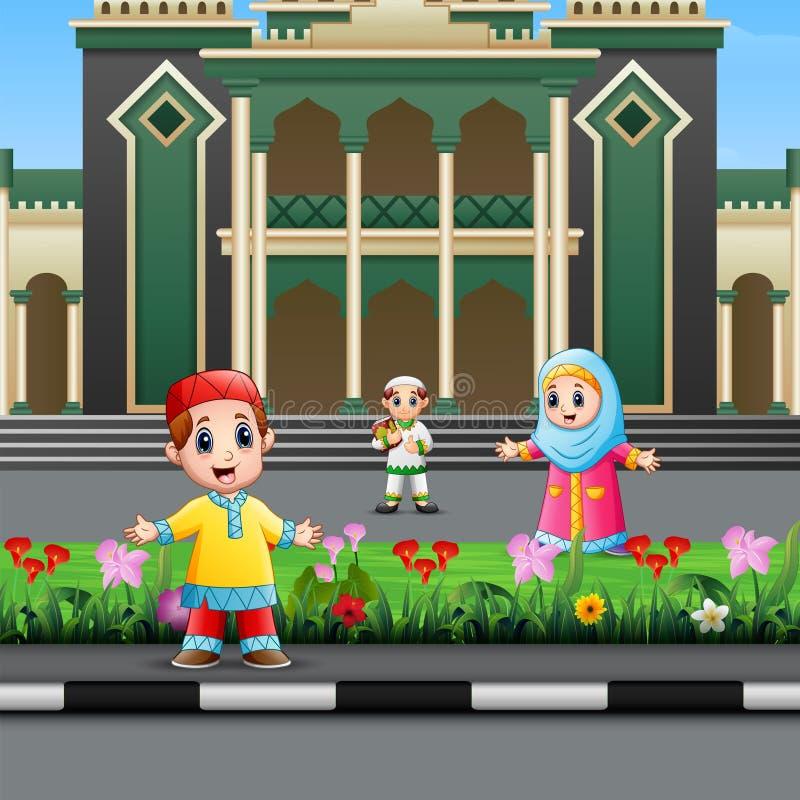 Fumetto del bambino musulmano nella parte anteriore la moschea royalty illustrazione gratis