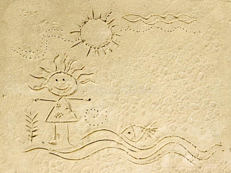 Fumetto del bambino sulla spiaggia di sabbia. fotografia stock