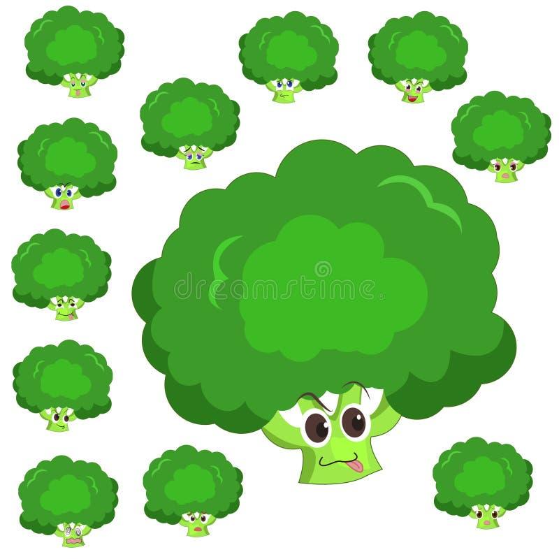 Fumetto del broccolo con molte espressioni illustrazione vettoriale