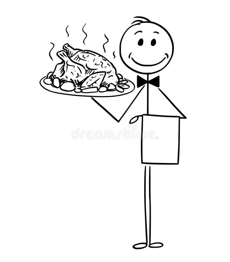 Fumetto del cameriere Holding Silver Plate o del vassoio con pollo arrosto o la Turchia illustrazione di stock