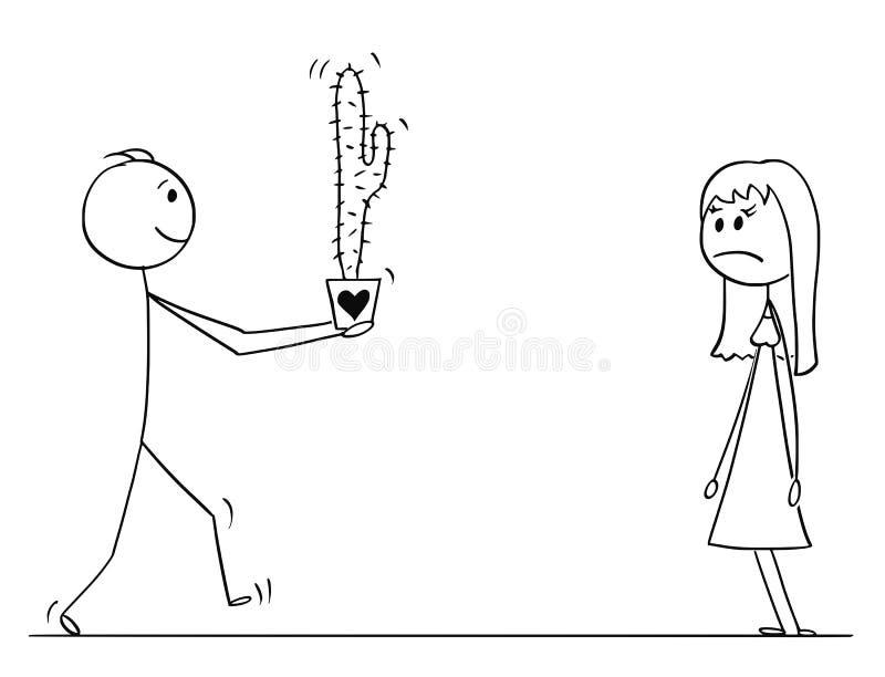Fumetto del carattere del bastone dell'uomo o del ragazzo di amore che dà il fiore della pianta del cactus alla donna o alla raga royalty illustrazione gratis