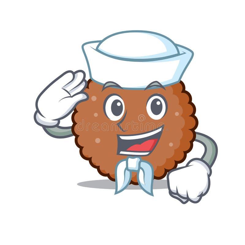 Fumetto del carattere del biscotto del cioccolato del marinaio illustrazione di stock