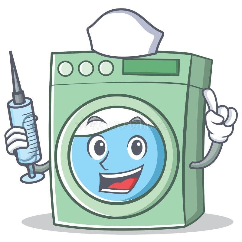 Fumetto del carattere della lavatrice dell'infermiere royalty illustrazione gratis