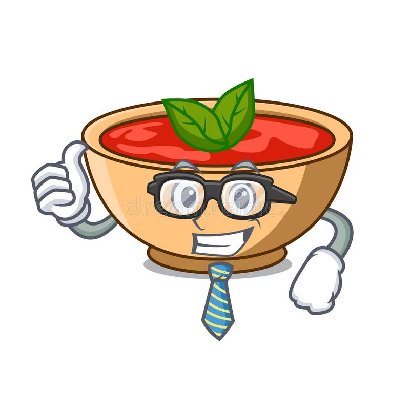 Fumetto del carattere della minestra del pomodoro dell'uomo d'affari illustrazione vettoriale
