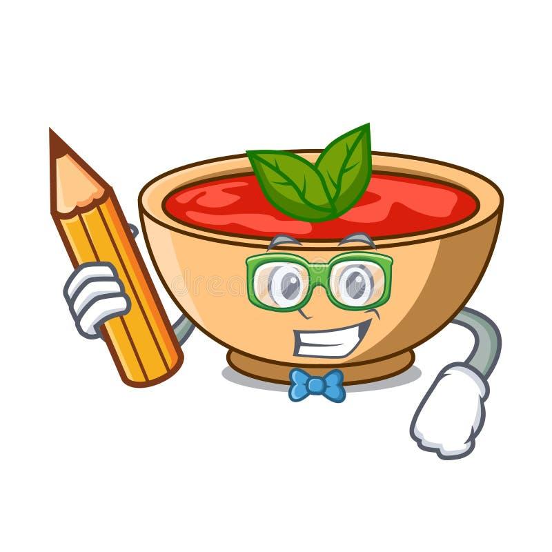Fumetto del carattere della minestra del pomodoro dello studente illustrazione vettoriale