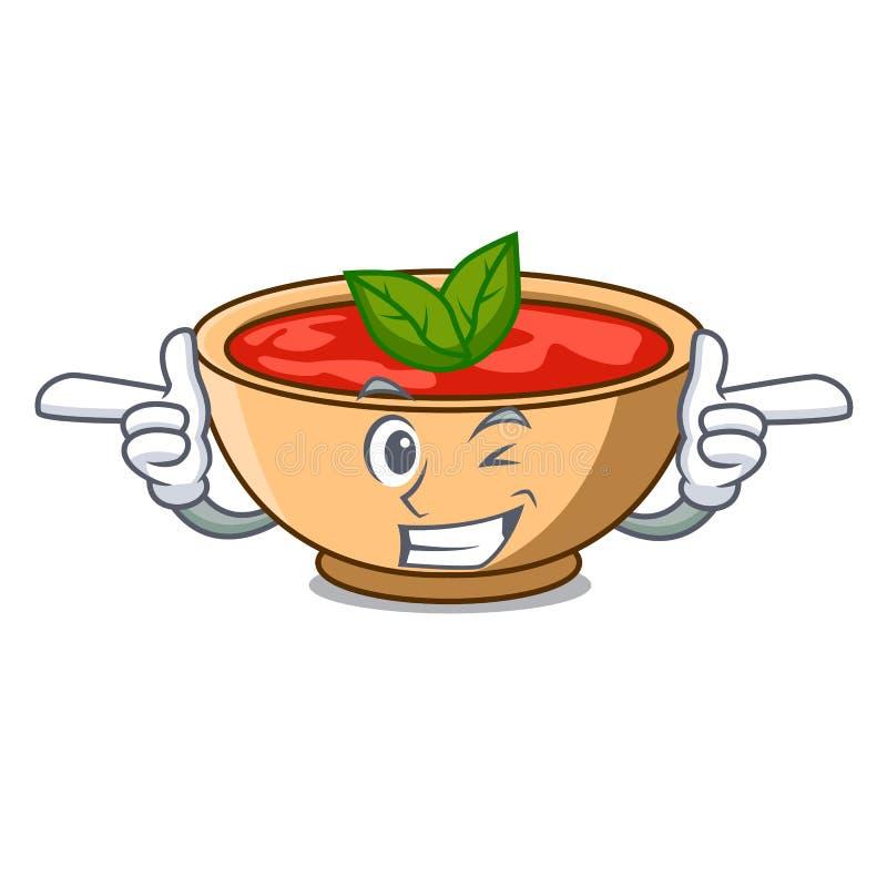 Fumetto del carattere della minestra del pomodoro di strizzatina d'occhio illustrazione vettoriale