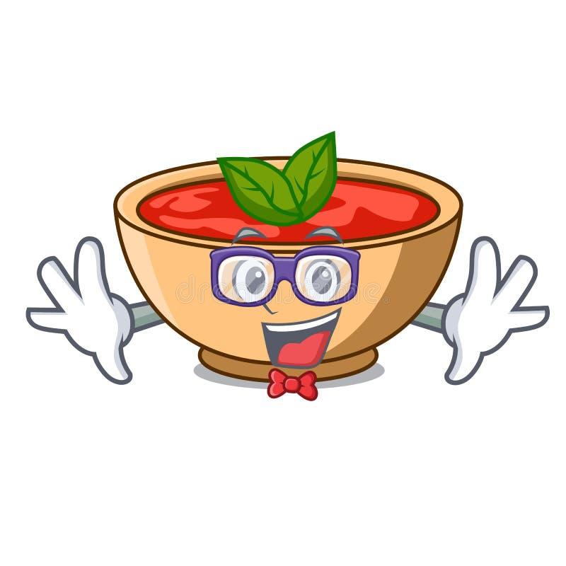 Fumetto del carattere della minestra del pomodoro del geek illustrazione di stock