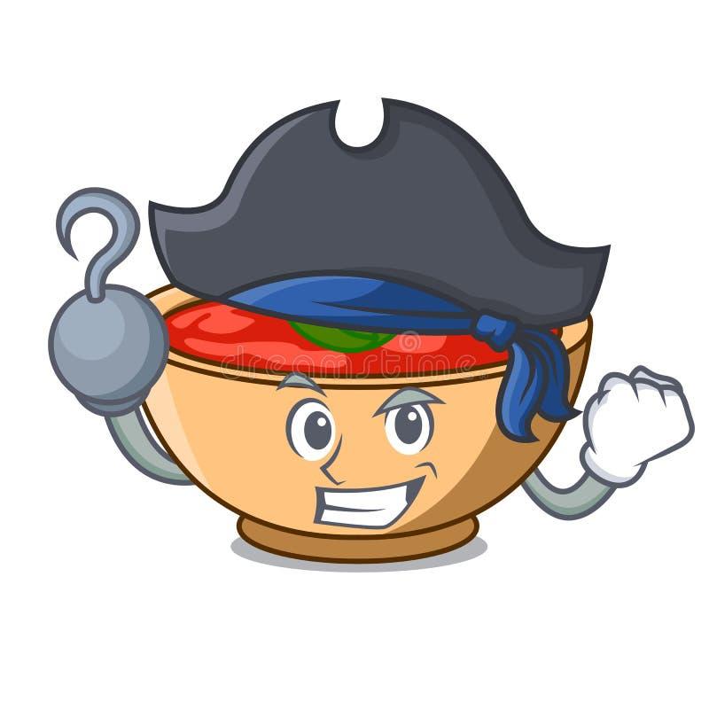 Fumetto del carattere della minestra del pomodoro del pirata royalty illustrazione gratis
