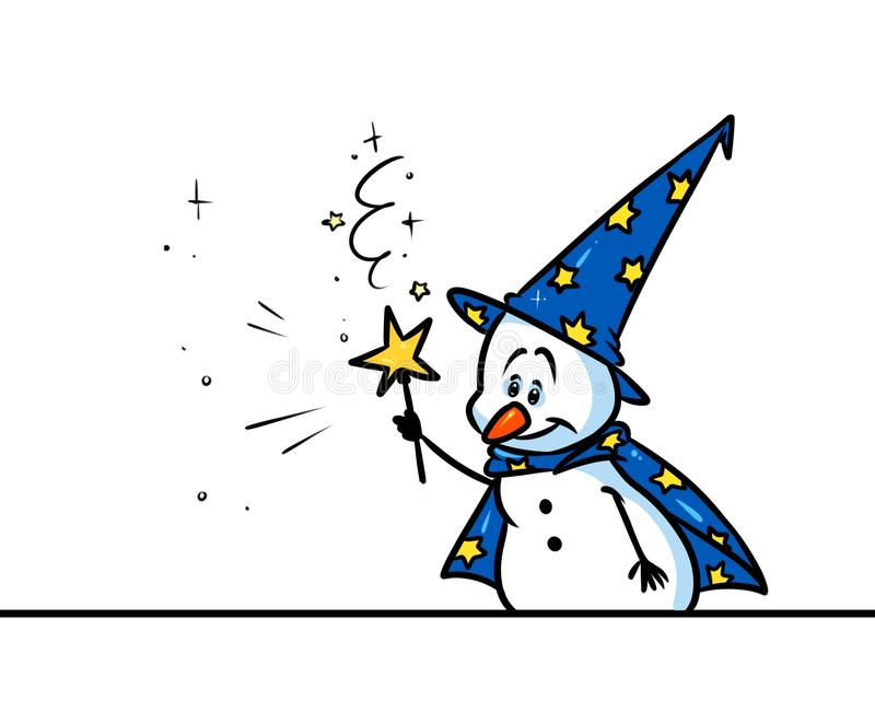 Fumetto del carattere dello stregone del pupazzo di neve di Natale illustrazione di stock