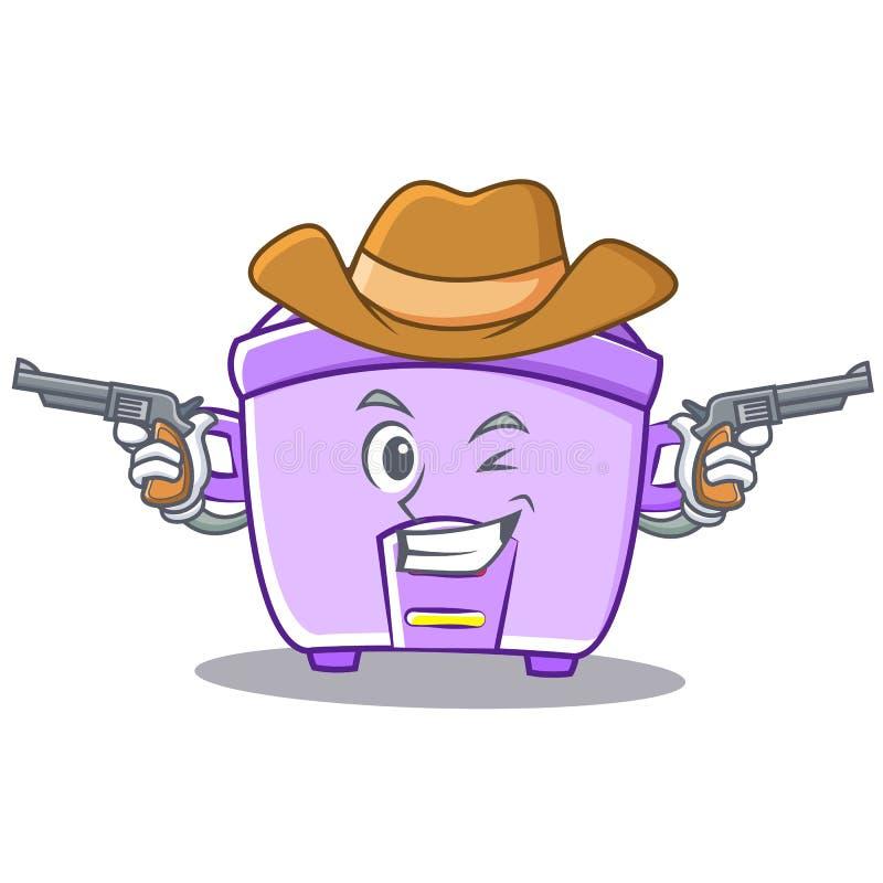 Fumetto del carattere del fornello di riso del cowboy illustrazione di stock