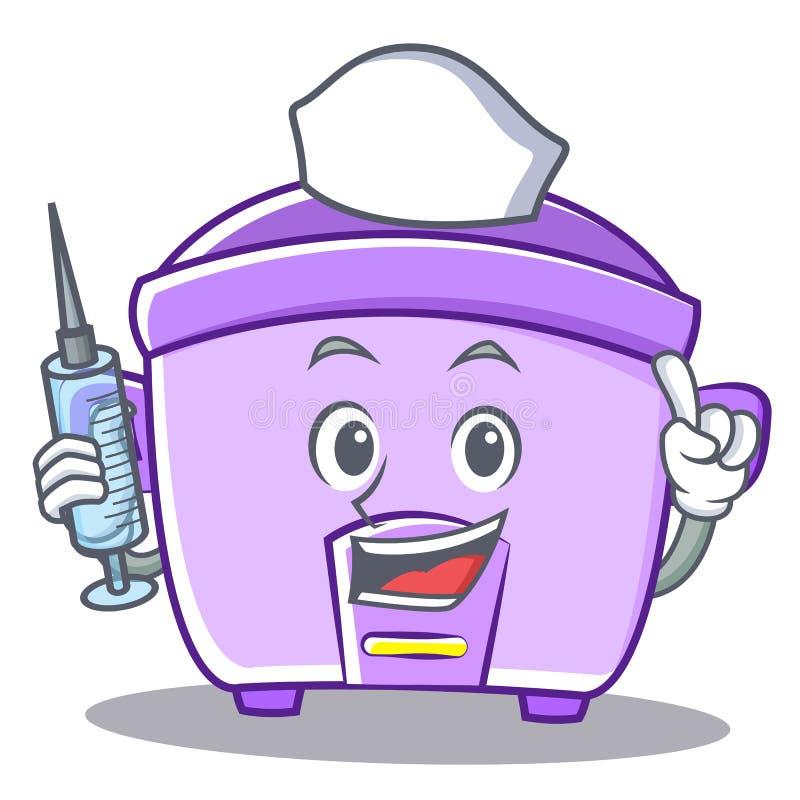 Fumetto del carattere del fornello di riso dell'infermiere royalty illustrazione gratis